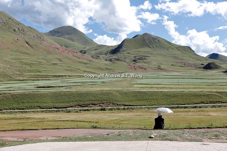 Nangqen County, Yushu Tibetan Autonomous Prefecture, Qinghai Province, China - Countryside, August 2019.