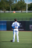 Surprise Saguaros outfielder Cavan Biggio (26), of the Toronto Blue Jays organization, during the national anthem before an Arizona Fall League game against the Salt River Rafters on October 9, 2018 at Surprise Stadium in Surprise, Arizona. Salt River defeated Surprise 10-8. (Zachary Lucy/Four Seam Images)