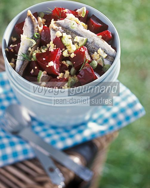 Gastronomie/salade de betterave aux Anchois frais
