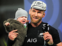 Kieran Read with his baby boy Reuben the 2017 DHL Lions Series rugby union 3rd test match between the NZ All Blacks and British & Irish Lions at Eden Park in Auckland, New Zealand on Saturday, 8 July 2017. Photo: Dave Lintott / lintottphoto.co.nz