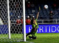 CALI - COLOMBIA, 15-09-2018: Nohuel Losada, portero de Deportivo Pasto, no logra detener el disparo de Jhonatan Pérez (Fuera de Cuadro), jugador America de Cali, al anotar el tercer gol de su equipo, durante partido entre América de Cali y Deportivo Pasto, de la fecha 10 por la Liga Aguila II 2018 jugado en el estadio Pascual Guerrero de la ciudad de Cali. / Nohuel Losada, goalkeeper of Deportivo Pasto, fails to stop the shoot of Jhonatan Pérez (Out of Frame), player of America de Cali, the third goal of his team, during a match between America de Cali and Deportivo Pasto, of the 10th date for the Liga Aguila II 2018 at the Pascual Guerrero stadium in Cali city. Photo: VizzorImage / Luis Ramirez / Staff.