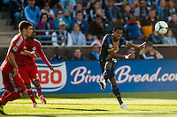 Jose Kleberson (19) of the Philadelphia Union crosses the ball. Toronto FC and the Philadelphia Union played to a 1-1 tie during a Major League Soccer (MLS) match at PPL Park in Chester, PA, on April13, 2013.