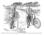 "In Dorsetshire. Fair cyclist. ""Is this the way to Wareham, please?"" Native. ""Yes, Miss, yew seem to me to ha' got 'em on all right!"""
