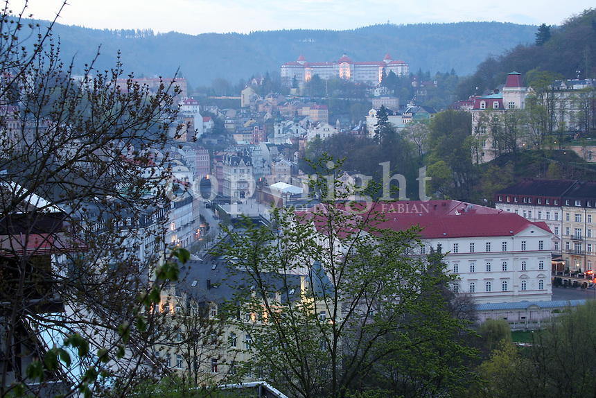 Cityscape of the old town of Karlovy Vary, Czech Republic, Europe. The photo was taken early in the morning