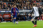Lionel Messi of FC Barcelona (L) in action during the Copa Del Rey 2017-18 match between FC Barcelona and Valencia CF at Camp Nou Stadium on 01 February 2018 in Barcelona, Spain. Photo by Vicens Gimenez / Power Sport Images
