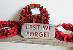 Poppy wreaths remembrance Lest We Forget, Church of Saint Bartholomew, Orford, Suffolk, Suffolk, England, UK
