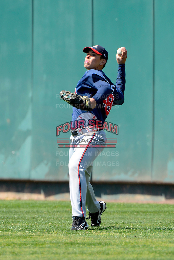 Atlanta Braves outfielder Joey Meneses #48 during practice before a minor league Spring Training game against the Philadelphia Phillies at Al Lang Field on March 14, 2013 in St. Petersburg, Florida.  (Mike Janes/Four Seam Images)