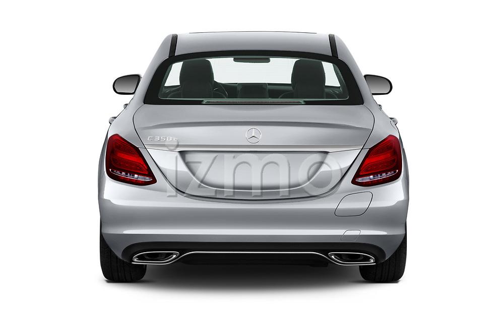 Straight rear view of a 2018 Mercedes Benz C-Class Sedan C350e Plug-in Hybrid 4 Door Sedan stock images