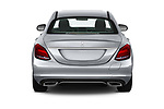 Straight rear view of a 2018 Mercedes Benz C-Class Sedan C350e Plug-in Hybrid 4 Door Sedan stock images