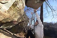 NWA Democrat-Gazette/FLIP PUTTHOFF <br /> Jasmin Reyes starts her climb Nov. 16 2018 at Lincoln Lake.