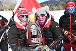 FRANCONIA, NH - MARCH 11:   The University of Utah ski team members hold the championship trophy and celebrate their first place finish in the Division I Men's and Women's Skiing Championships held at Jackson Ski Touring on March 11, 2017 in Jackson, New Hampshire. (Photo by Gil Talbot/NCAA Photos via Getty Images)