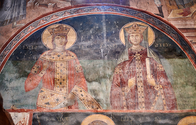 Pictures & images of the interior frescoes of a Georgian King and Queen Ubisa St. George Georgian Orthodox medieval monastery, Georgia (country)<br /> <br /> The 14th century lavish interior frescoes were painted by Gerasim in a local style known as Palaeologus  following Byzantine influences.