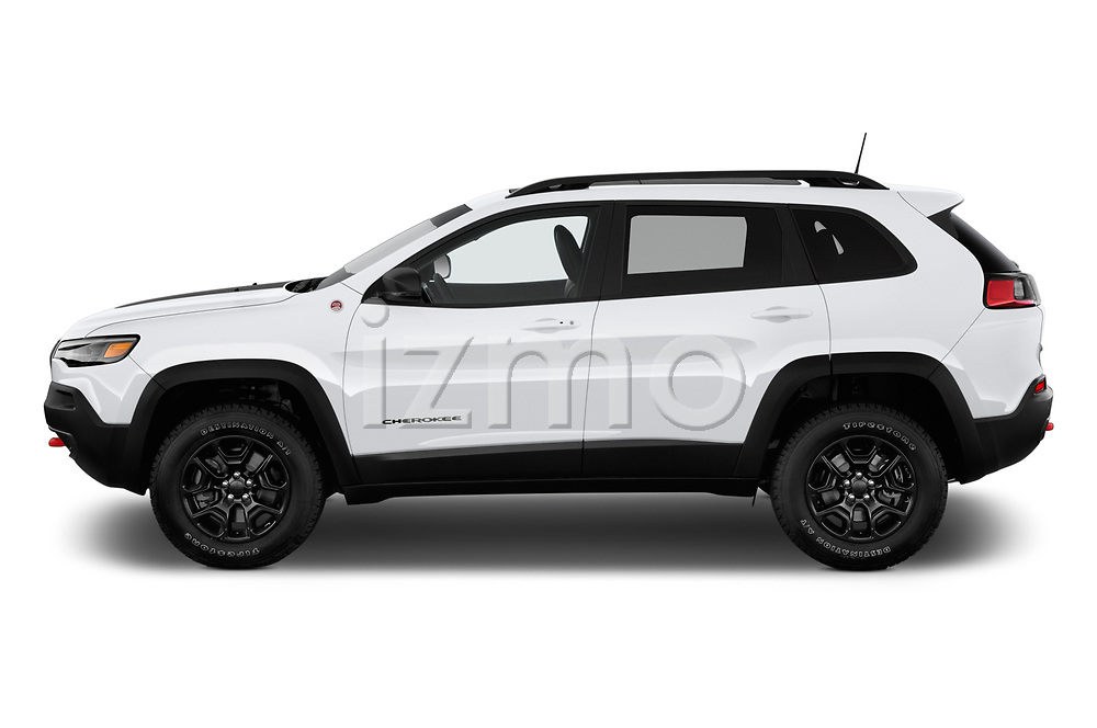 Car driver side profile view of a 2019 Jeep Cherokee Trailhawk 5 Door SUV