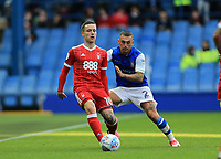 Barrie McKay of Nottingham Forest wins the ball against Jack Hunt of Sheffield Wednesday during the Sky Bet Championship match between Sheffield Wednesday and Nottingham Forest at Hillsborough, Sheffield, England on 9 September 2017. Photo by Leila Coker / PRiME Media Images.