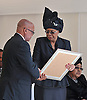 Qunu, South Africa: 15.12.2013: STATE FUNERAL FOR NELSON MANDELA<br /> GRACA MACHEL<br /> receives a framed replica of the national flag from President Zuma at the Funeral service for former President Nelson Mandela in Qunu, Eastern Cape, South Africa<br /> Mandatory Credit Photo: &copy;Jiyane-GCIS/NEWSPIX INTERNATIONAL<br /> <br /> **ALL FEES PAYABLE TO: &quot;NEWSPIX INTERNATIONAL&quot;**<br /> <br /> IMMEDIATE CONFIRMATION OF USAGE REQUIRED:<br /> Newspix International, 31 Chinnery Hill, Bishop's Stortford, ENGLAND CM23 3PS<br /> Tel:+441279 324672  ; Fax: +441279656877<br /> Mobile:  07775681153<br /> e-mail: info@newspixinternational.co.uk