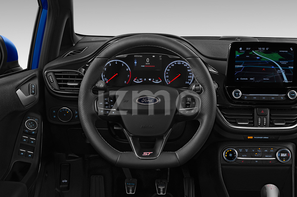 Car pictures of steering wheel view of a 2018 Ford fiesta st Ultimate 5 Door Hatchback