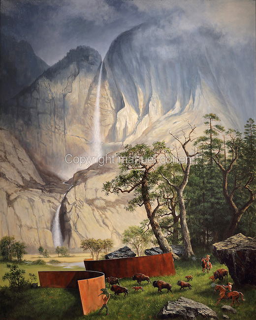 The Fourth World, painting, 2012, acrylic on canvas, by Kent Monkman, b. 1965, Cree Canadian artist, member of the Fish River Band, from the collection of Denver Art Museum, Denver, Colorado, USA. The painting depicts a buffalo hunt, with waterfall in the background. Picture by Manuel Cohen
