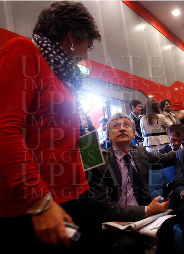 Gli esponenti del Partito Democratico Anna Finocchiaro, a sinistra, e Massimo D'Alema durante l'Assemblea Nazionale a Roma, 11 maggio 2013..UPDATE IMAGES PRESS/Riccardo De Luca