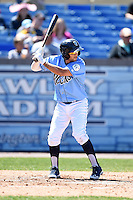 Wilmington Blue Rocks second baseman Jack Lopez (11) at bat during a game against the Myrtle Beach Pelicans on April 27, 2014 at Frawley Stadium in Wilmington, Delaware.  Myrtle Beach defeated Wilmington 5-2.  (Mike Janes/Four Seam Images)