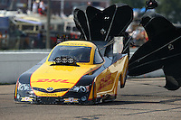 Aug 16, 2014; Brainerd, MN, USA; NHRA funny car driver Del Worsham during qualifying for the Lucas Oil Nationals at Brainerd International Raceway. Mandatory Credit: Mark J. Rebilas-
