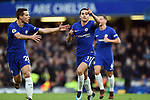 Pedro of Chelsea celebrates scoring his goal to make it 3-0 with team mate Cesar Azpilicueta of Chelsea during the premier league match at Stamford Bridge Stadium, London. Picture date 30th December 2017. Picture credit should read: Robin Parker/Sportimage