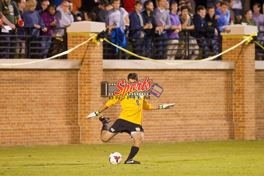 Alec Ferrell (0) of the Wake Forest Demon Deacons takes a goal kick during first half action against the North Carolina Tar Heels at Spry Soccer Stadium on September 28, 2013 in Winston-Salem, North Carolina.  The Demon Deacons and the Tar Heels played to a 1-1 tie.  (Brian Westerholt/Sports On Film)
