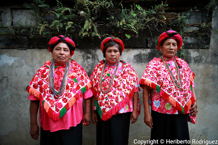 Native Naua women in tradtional dresses in the Indian town of Tancanhuitz, in the Mexican state of San Luis Potosi, September 26, 2006. Photo by Heriberto Rodriguez