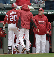 NWA Democrat-Gazette/ANDY SHUPE<br />Arkansas second baseman Carson Shaddy (20) is congratulated at the dugout steps by coach Dave Van Horn after a solo home run Saturday, April 14, 2018, during the second inning against South Carolina at Baum Stadium. Visit nwadg.com/photos to see more photographs from the game.