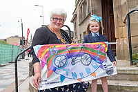 Picture by Allan McKenzie/SWpix.com - 15/05/2018 - Cycling - OVO Energy Tour Series Womens Race - Round 2:Motherwell - Motherwell Provost Jean Jones with Hannah Duffy and her starting flag.