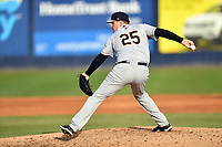 Charleston RiverDogs pitcher Rodney Hutchison (25) delivers a pitch during game one of a double header against the Asheville Tourists at McCormick Field on April 9, 2019 in Asheville, North Carolina. The Tourists defeated the RiverDogs 17-3. (Tony Farlow/Four Seam Images)