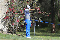 Pater Uihlein (USA) in a tree on the 1st and takes a drop ball during Round 1 of the ISPS HANDA Perth International at the Lake Karrinyup Country Club on Thursday 23rd October 2014.<br /> Picture:  Thos Caffrey / www.golffile.ie