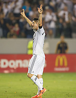 CARSON, CA - July 4, 2013: LA Galaxy forward Robbie Keane (7) celebrates his game winning goal during the LA Galaxy vs Columbus Crew match at the StubHub Center in Carson, California. Final score, LA Galaxy 2, Columbus Crew 1.