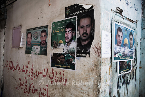 Posters of palestinian martyrs or fighters, in the palestinian camp of Burj el Barajneh, south of Beirut, Lebanon<br /> <br /> Dans les ruelles du camp palestinien de Burj el Barajneh, au sud de Beyrouth