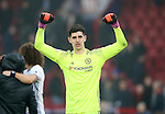 Chelsea's Thibaut Courtois celebrates at the final whistle during the Premier League match at Selhurst Park Stadium, London. Picture date December 17th, 2016 Pic David Klein/Sportimage