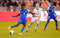 HOUSTON, TX - JANUARY 28: Sherly Jeudy #9 of Haiti passes off a ball during a game between Haiti and USWNT at BBVA Stadium on January 28, 2020 in Houston, Texas.