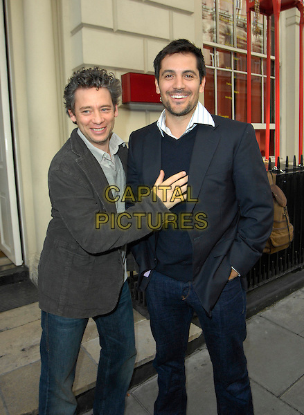 DEXTER FLETCHER & GUEST.At the Omar Sheriff Charity Backgammon and Poker Game, Sketch Bar, London, England, May 13th 2007..Half length hand on chest.CAP/CAN.©Can Nguyen/Capital Pictures