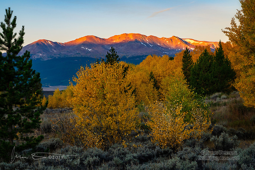 Autumn Sunrise in Leadville.  The first rays of dawn paint a warm glow on Mount Massive, west of the historic mining town of Leadville, Colorado.  The aspens in this area were showing off their peak fall colors when I was there.<br /> <br /> Image ©2019 James D Peterson