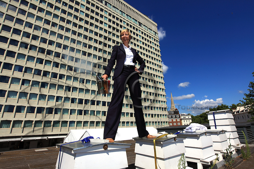 "Jo Hemesley in a suit on the hives of the Royal Lancaster Hotel.  Just a stone's throw from Hyde Park, the hotel's bees have been gathering honey from the flowers in the royal gardens. Jo joined the hotel's green team, which takes of the hives, the idea being to produce local honey to serve to guests but also to help the bees survive. ""With the help of our mentor, Luke Dixon, fives hives were set up in the summer of 2009 and today we have ten. My work at the hotel is no picnic: I'm part of the managing team and I handle corporate sales to foreign companies and I travel a lot. My first encounter with bees occurred in school when I was twelve years old. At that time, in the context of the Duke of Edinburgh's program, we were supposed learn a trade and I chose apiculture. I hadn't reopened a hive until we put into place the hives at the hotel. Bees are really fascinating creatures. I love the way the life is organized around the colony. Each bee has a role to play in the population's survival and I love feeling that harmony."