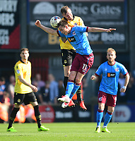 Bolton Wanderers' Dean Moxey vies for possession with Scunthorpe United's Josh Morris<br /> <br /> Photographer Chris Vaughan/CameraSport<br /> <br /> The EFL Sky Bet League One - Scunthorpe United v Bolton Wanderers - Saturday 8th April 2017 - Glanford Park - Scunthorpe<br /> <br /> World Copyright &copy; 2017 CameraSport. All rights reserved. 43 Linden Ave. Countesthorpe. Leicester. England. LE8 5PG - Tel: +44 (0) 116 277 4147 - admin@camerasport.com - www.camerasport.com