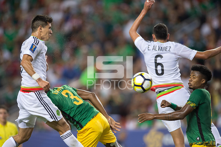Denver, CO - July 13, 2017: Group C action from the Mexico vs Jamaica match during the 2017 CONCACAF Gold Cup at Sports Authority Field Stadium.