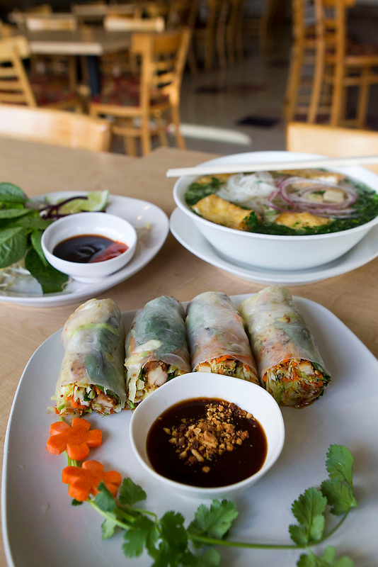 Saigon rolls with chicken and vegan pho are served at the Bamboo Hut  in Vancouver, Friday January 31, 2014. (Natalie Behring/for the Columbian)