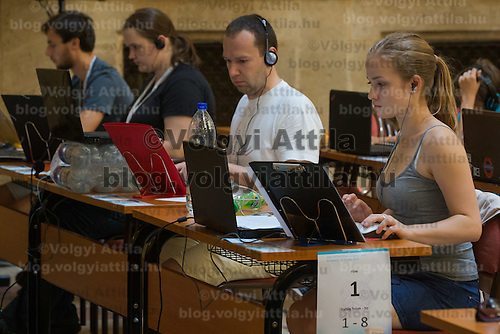 Participants compete in the world stenography and dactylography championships during the Intersteno congress held in Budapest, Hungary on July 19, 2015. ATTILA VOLGYI
