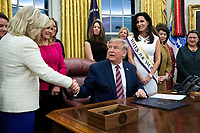 United States President Donald J. Trump (C) shakes hands with US Representative Liz Cheney (Republican of Wyoming) (L) during a signing ceremony for the bill, 'the Women's Suffrage Centennial Commemorative Coin Act', in the Oval Office of the White House in Washington, DC, USA, 25 November 2019. Trump signed 'H.R. 2423, the Women's Suffrage Centennial Commemorative Coin Act' - a bill directing the US Treasury to mint and issue up to four hundred thousand one-dollar silver coins honoring women that played a role in gathering support for the 19th Amendment.<br /> Credit: Michael Reynolds / Pool via CNP/AdMedia