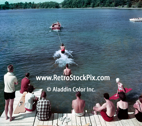 Gay El Rancho Resort, Wooden water skiing boat pulling a water skier