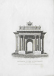 Nineteenth century engraving from 1827, Entrance to the Kings Palace, Hyde Park Corner, London, England, UK drawn by Thomas Shepherd , drawn by Thomas H Shepherd