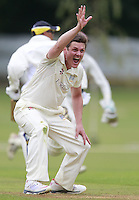 Craig Gourlay of Highgate appeals for an LBW during the Middlesex County Cricket League Division Three game between Highgate and South Hampstead at Park Road, Crouch End on Sat Aug 2, 2014