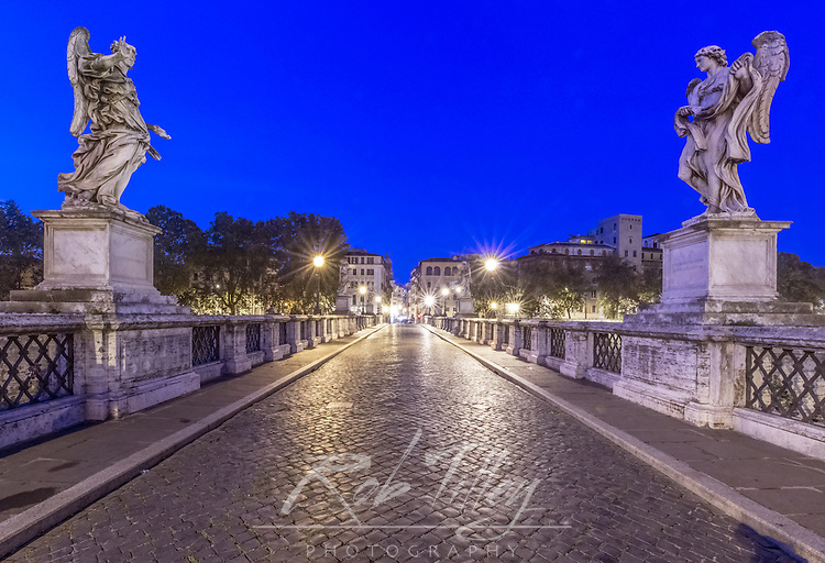 Italy, Rome, Ponte Sant'Angelo at Dawn