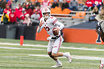 Wisconsin Badgers quarterback Alex Hornibrook (12) scrambles during an NCAA College Big Ten Conference football game against the Illinois Fighting Illini Saturday, October 28, 2017, in Champaign, Illinois. The Badgers won 24-10. (Photo by David Stluka)