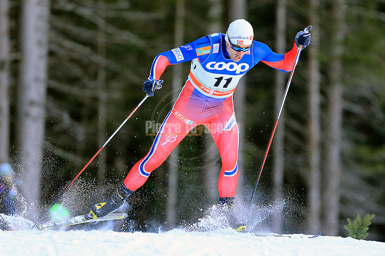 Petter Northug competes during the FIS Cross Country Ski World Cup Sprint qualification race in Dobbiaco, Toblach, on December 19, 2015. Credit: Pierre Teyssot