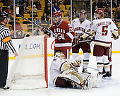 John Muse (BC - 1), Louis Leblanc (Harvard - 20),Brian Dumoulin (BC - 2), Philip Samuelsson (BC - 5) - The Boston College Eagles defeated the Harvard University Crimson 6-0 on Monday, February 1, 2010, in the first round of the 2010 Beanpot at the TD Garden in Boston, Massachusetts.